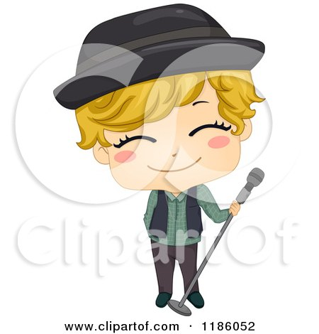 Cartoon of a Pop Star Boy with a Microphone Stand - Royalty Free Vector Clipart by BNP Design Studio