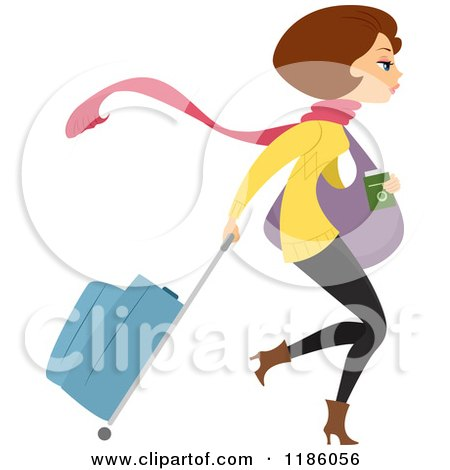 Cartoon of a Brunette, Winter Clad Woman with Rolling Luggage - Royalty Free Vector Clipart by BNP Design Studio