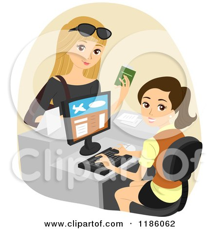 Cartoon of a Female Traveler Checking in at an Airport - Royalty Free Vector Clipart by BNP Design Studio