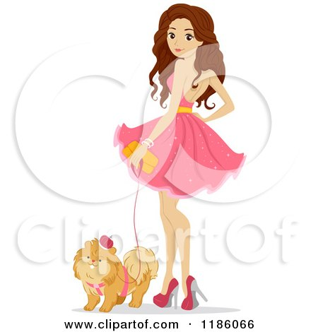 Cartoon of a Teen Girl in a Pink Dress, Standing with Her Dog - Royalty Free Vector Clipart by BNP Design Studio