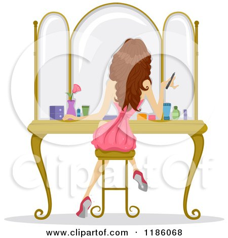 Cartoon of a Rear View of a Girl Sitting at a Vanity and Getting Ready for Prom Night - Royalty Free Vector Clipart by BNP Design Studio