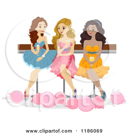 Cartoon of a Trio of Prom Girls Sitting with Drinks - Royalty Free Vector Clipart by BNP Design Studio