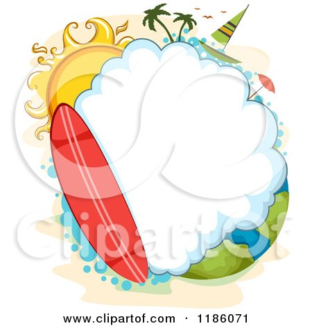 Cartoon of a Surfboard and Cloud Frame with a Sun and Sailboat over Earth - Royalty Free Vector Clipart by BNP Design Studio