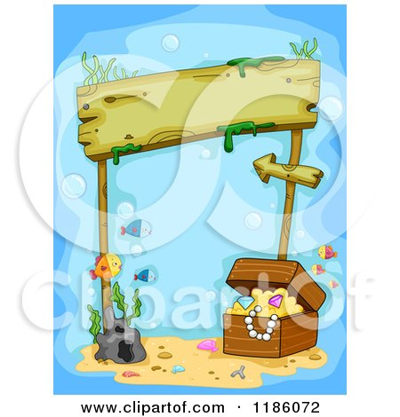 Cartoon of a Wooden Sign Underwater with Sunken Treasure and Fish - Royalty Free Vector Clipart by BNP Design Studio