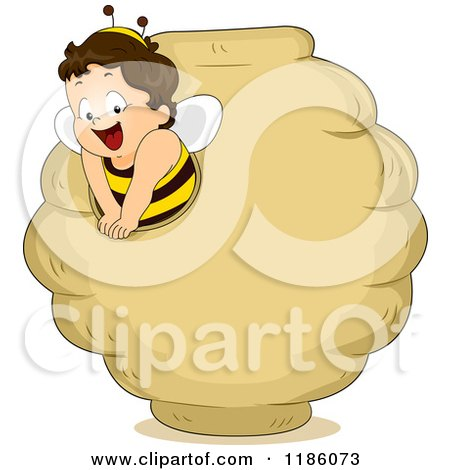 Cartoon of a Happy Toddler Boy in a Bee Costume, Emerging from a Bee Hive - Royalty Free Vector Clipart by BNP Design Studio