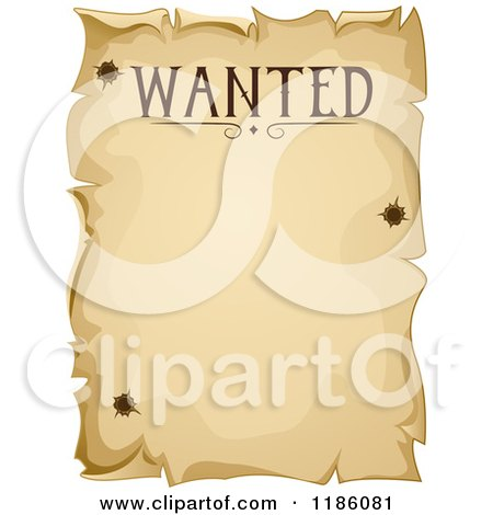 Cartoon of a Vintage Wanted Sign with Bullet Holes - Royalty Free Vector Clipart by BNP Design Studio