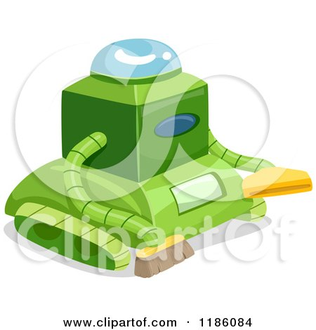 Cartoon of a Green Cleaning Robot - Royalty Free Vector Clipart by BNP Design Studio