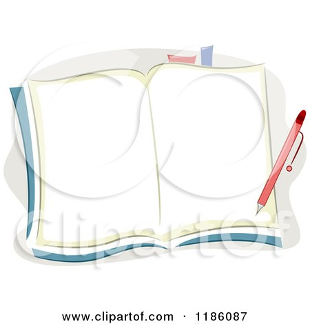 Cartoon of a Pen over Blank Notebook Pages - Royalty Free Vector Clipart by BNP Design Studio