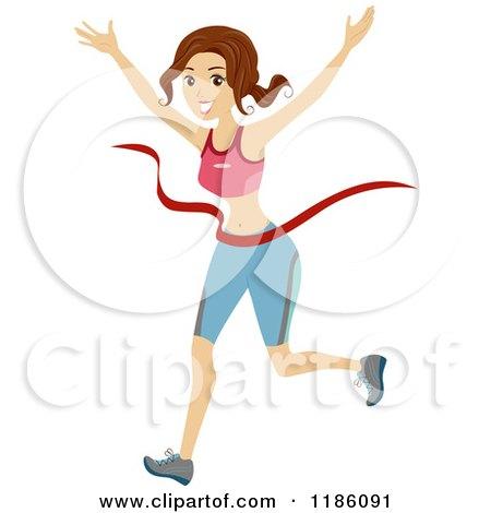 Cartoon of a Marathon Runner Breaking Through the Finish Line - Royalty Free Vector Clipart by BNP Design Studio