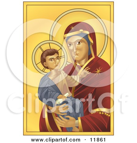Virgin Mary, Madonna, Holding Baby Jesus Clipart Illustration by AtStockIllustration