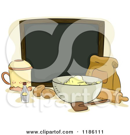 Cartoon of a Blank Chalk Board Surrounded by Baking Ingredients - Royalty Free Vector Clipart by BNP Design Studio