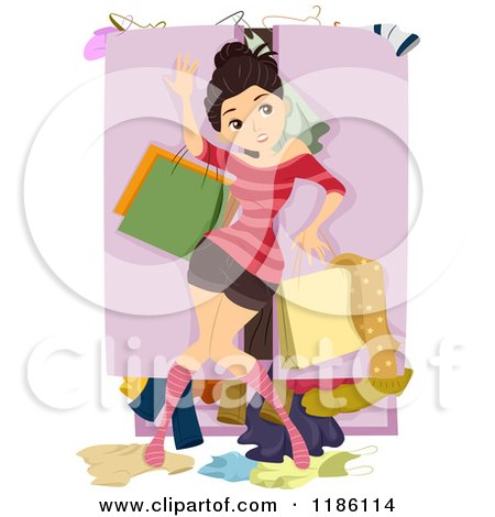 Cartoon of a Teen Girl Fighting Against a Messy Overflowing Closet - Royalty Free Vector Clipart by BNP Design Studio