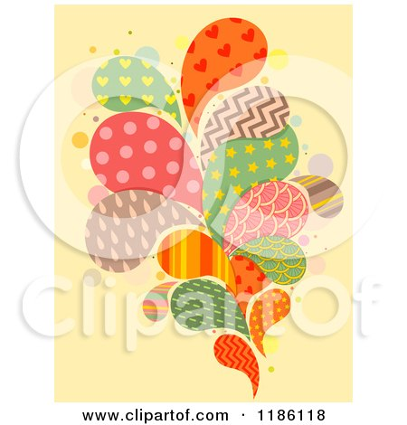 Cartoon of Patterned Splashes on Yellow - Royalty Free Vector Clipart by BNP Design Studio