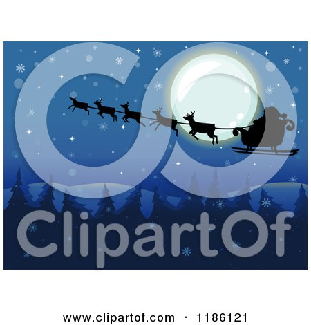 Cartoon of a Snowy Christmas Night with Santa and His Sleigh over the Full Moon - Royalty Free Vector Clipart by BNP Design Studio