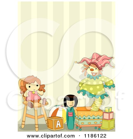 Cartoon of a Room with Toys Against Striped Wallpaper - Royalty Free Vector Clipart by BNP Design Studio