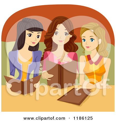 Cartoon of a Trio of Women Reading Restaurant Menus - Royalty Free Vector Clipart by BNP Design Studio