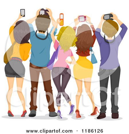 Cartoon of a Rear View of People Holding up Cameras - Royalty Free Vector Clipart by BNP Design Studio