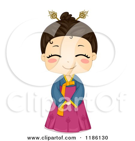 Cartoon of a Cute Smiling Korean Girl Wearing a Traditional ...
