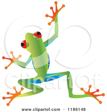 Clipart of a Jumping Tree Frog - Royalty Free Vector Illustration by Lal Perera