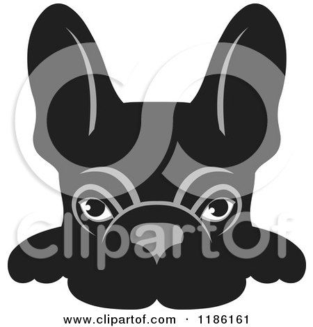 Clipart of a Black Frenchie Dog Looking over a Surface - Royalty Free Vector Illustration by Lal Perera