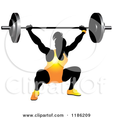 Clipart of a Silhouetted Female Bodybuilder Lifting a Heavy Barbell and Wearing Orange - Royalty Free Vector Illustration by Lal Perera
