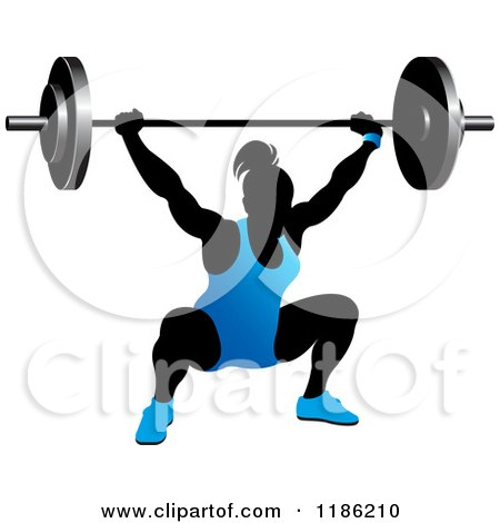 Clipart of a Silhouetted Female Bodybuilder Lifting a Heavy Barbell and Wearing Blue - Royalty Free Vector Illustration by Lal Perera