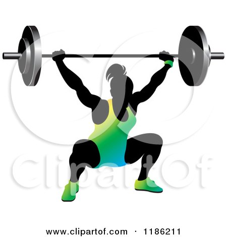 Clipart of a Silhouetted Female Bodybuilder Lifting a Heavy Barbell and Wearing Gradient - Royalty Free Vector Illustration by Lal Perera