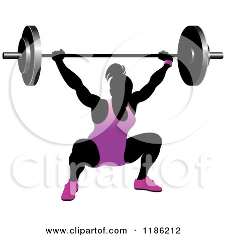 Clipart of a Silhouetted Female Bodybuilder Lifting a Heavy Barbell and Wearing Purple - Royalty Free Vector Illustration by Lal Perera