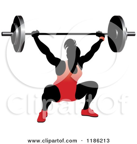 Clipart of a Silhouetted Female Bodybuilder Lifting a Heavy Barbell and Wearing Red - Royalty Free Vector Illustration by Lal Perera