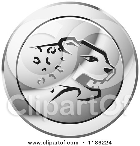 Clipart of a Silver Cheetah Icon - Royalty Free Vector Illustration by Lal Perera