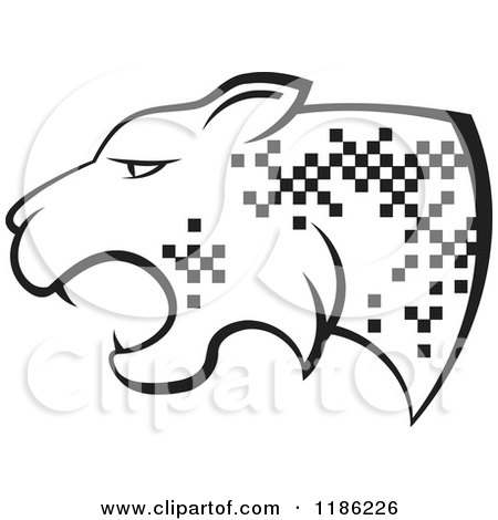 Clipart of a Black and White Cheetah with Pixel Spots - Royalty Free Vector Illustration by Lal Perera
