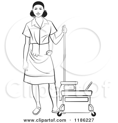 Clipart of a Blackl and White Janitorial Woman Standing by a Mop Bucket - Royalty Free Vector Illustration by Lal Perera