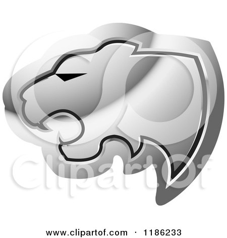 Clipart of a Silver Cheetah Head Icon - Royalty Free Vector Illustration by Lal Perera