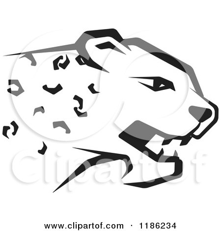 Clipart of a Black and White Cheetah - Royalty Free Vector Illustration by Lal Perera