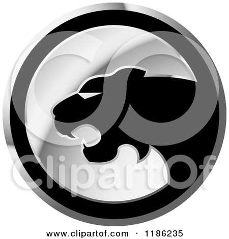 Clipart of a Silver Cheetah Icon 3 - Royalty Free Vector Illustration by Lal Perera