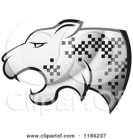 Clipart of a Silver Cheetah with Pixel Spots - Royalty Free Vector Illustration by Lal Perera