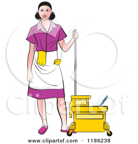 Clipart of a Janitorial Woman in a Purple Uniform, Standing by a Mop Bucket - Royalty Free Vector Illustration by Lal Perera