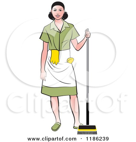 Clipart of a Janitorial Woman with a Broom - Royalty Free Vector Illustration by Lal Perera