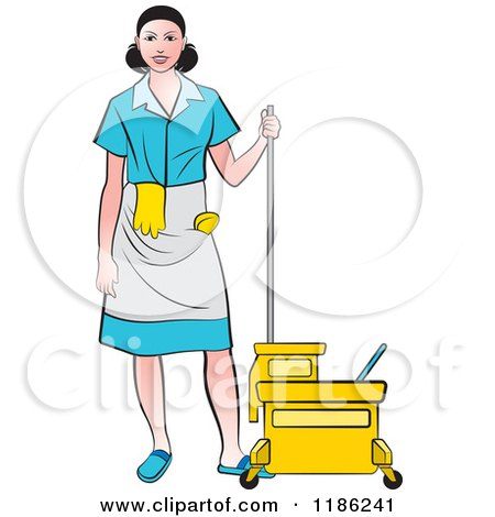 Clipart of a Janitorial Woman in a Blue Uniform, Standing by a Mop Bucket - Royalty Free Vector Illustration by Lal Perera