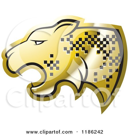 Clipart of a Gold Cheetah with Pixel Spots - Royalty Free Vector Illustration by Lal Perera