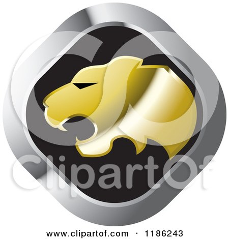 Clipart of a Silver and Gold Cheetah Icon - Royalty Free Vector Illustration by Lal Perera