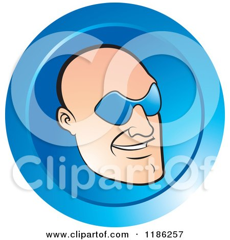 Clipart of a Bald Mans Face with Glasses on a Blue Icon - Royalty Free Vector Illustration by Lal Perera
