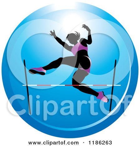 Clipart of a Woman High Jumping on a Blue Icon - Royalty Free Vector Illustration by Lal Perera