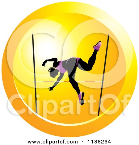 Clipart of a Woman High Jumping on an Orange Icon - Royalty Free Vector Illustration by Lal Perera