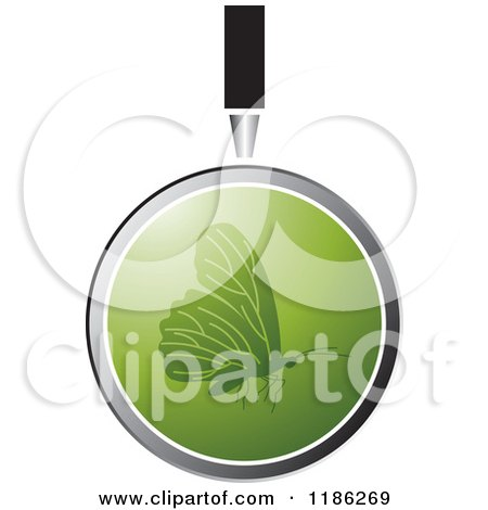 Clipart of a Magnifying Glass over a Green Butterfly - Royalty Free Vector Illustration by Lal Perera