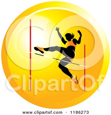 Clipart of a Woman High Jumping on an Orange Icon 2 - Royalty Free Vector Illustration by Lal Perera