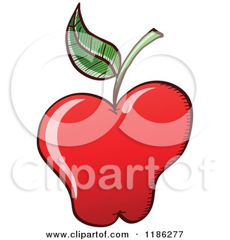 Cartoon of a Red Apple with a Single Leaf - Royalty Free Vector Clipart by Zooco