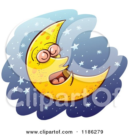 Cartoon of a Sleeping Crescent Moon over Blue and Stars - Royalty Free Vector Clipart by Zooco