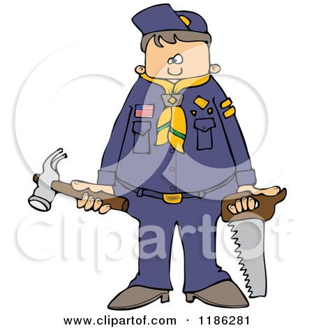 Cartoon of a Scout Boy Holding Tools - Royalty Free Vector Clipart by djart