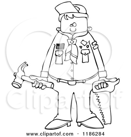 Cartoon of an Outlined Scout Boy Holding Tools - Royalty Free Vector Clipart by djart